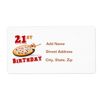 21st Birthday Pizza Party Label