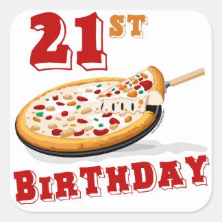 21st Birthday Pizza Party Square Sticker