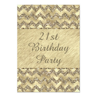 21st Birthday Platinum Glitter Chevrons Card