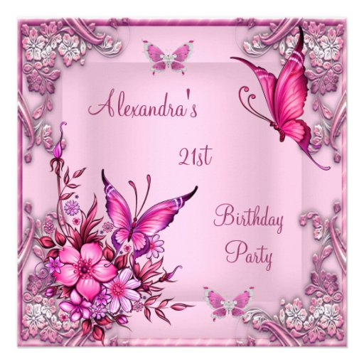 21st Birthday Pretty Pink Floral Butterfly Silver Invites