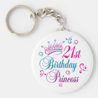 21st Birthday Princess Basic Round Button Keychain