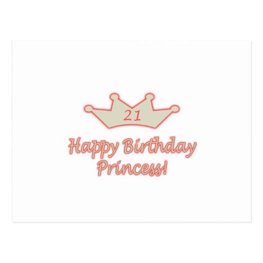 21st  Birthday Princess Postcard