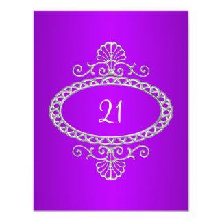 21st Birthday Purple & Silver Metal Card