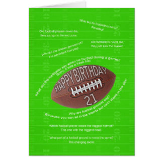 21st birthday, really bad football jokes card