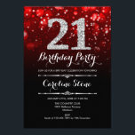 """21st Birthday - Red Black Silver Invitation<br><div class=""""desc"""">21st Birthday Invitation. Elegant red black white design with faux glitter silver. Adult birthday. Features diamonds and script font. men or women bday invite.  Perfect for a stylish birthday party. Message me if you need further customization.</div>"""