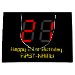 "[ Thumbnail: 21st Birthday: Red Digital Clock Style ""21"" + Name Gift Bag ]"