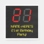 "[ Thumbnail: 21st Birthday: Red Digital Clock Style ""21"" + Name Napkins ]"