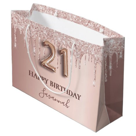 21st birthday rose gold glitter pink balloon style large gift bag