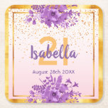 """21st birthday rose gold with confetti and flowers square paper coaster<br><div class=""""desc"""">Glamorous with elegant and modern rose gold,  blush pink gradient backdrop for a 21st birthday. With a faux gold frame and ultra violet and purple colored watercolored flowers and golden confetti rain. Templates for name,  age and date,  purple and golden colored letters.</div>"""