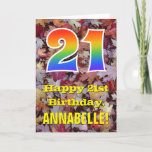 "[ Thumbnail: 21st Birthday; Rustic Autumn Leaves; Rainbow ""21"" Card ]"