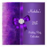 21st Birthday Sequins Purple Diamond Bow Personalized Invitations