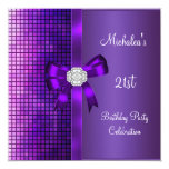 21st Birthday Sequins Purple Diamond Bow Personalized Invitations
