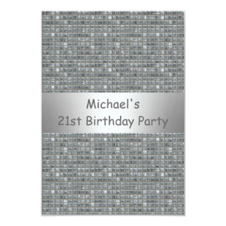 21st Birthday Silver Grey Marle Tile Pattern Card