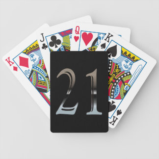 21st Birthday Silver Number 21 Bicycle Playing Cards