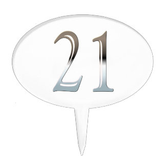 21st Birthday Silver Number 21 Cake Topper