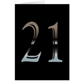 21st Birthday Silver Number 21 Card