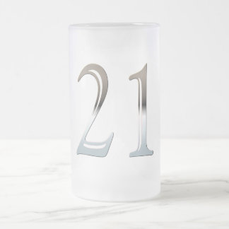 21st Birthday Silver Number 21 Frosted Glass Beer Mug