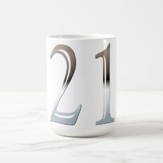 21st Birthday Silver Number 21 Mugs