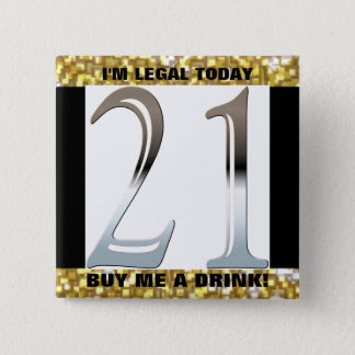 21st Birthday Silver Number 21 Pinback Button