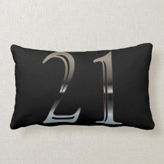 21st Birthday Silver Number 21 Red and Black Pillow