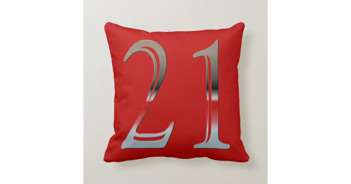 21st Birthday Silver Number 21 Red and Black Throw