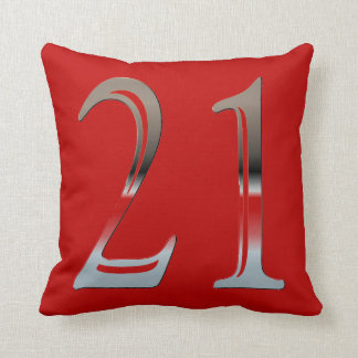 21st Birthday Silver Number 21 Red and Black Throw Pillow