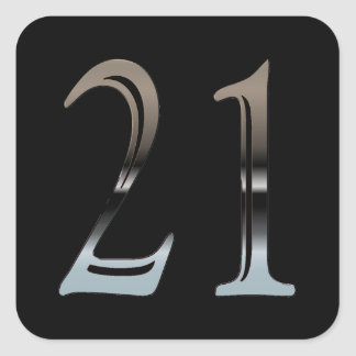21st Birthday Silver | Number 21 Square Sticker