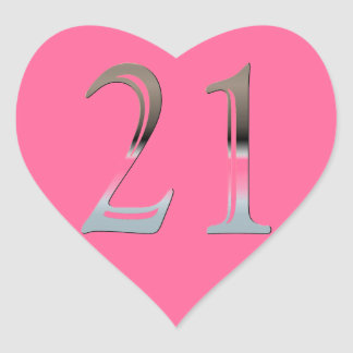 21st Birthday Silver Number 21 Heart Stickers