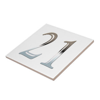 21st Birthday Silver Number 21 Tile