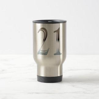 21st Birthday Silver Number 21 Travel Mug