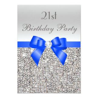21st Birthday Silver Sequin Royal Blue Bow Diamond Card