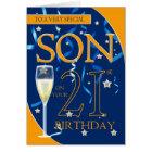 21st Birthday Son - Champagne Glass Card