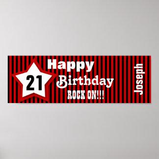 21st Birthday Star Banner Custom Z08H Posters