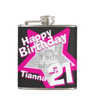 21st birthday star photo girls hip flask