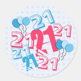 21st Birthday Stickers Pink Dots