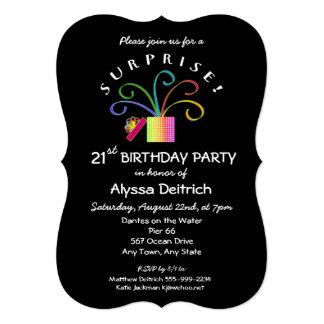 21st Birthday Surprise Party-Black Bracket Cut Card