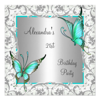 21st Birthday Teal Floral Butterfly Silver White Invitations