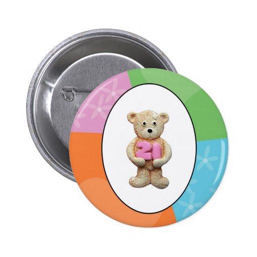 21st Birthday Teddy Bear Pinback Button