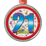 21st Birthday Today v2 Round Metal Christmas Ornament