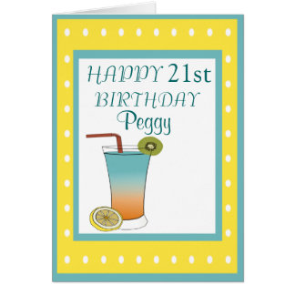 21st Birthday Tropical Drink Card