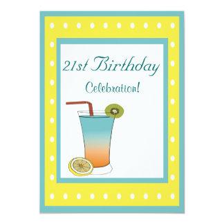 "21st Birthday Tropical Drink 5"" X 7"" Invitation Card"