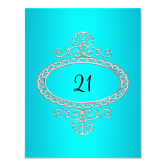 21st Birthday Turquoise & Silver Metal Card