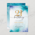 """21st birthday Turquoise watercolor gold invitation<br><div class=""""desc"""">A simple yet elegant 21st birthday invitation featuring Turquoise watercolor and faux gold foil lettering. Other ages and backgrounds also available  © Mini Moi Prints</div>"""