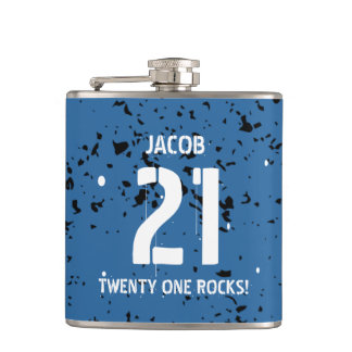 21st Birthday Twenty One Rocks BLUE Grunge F21Z Flask