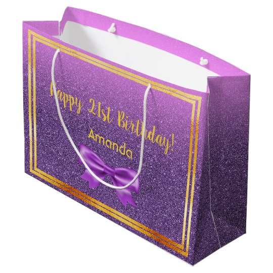 21st Birthday Ultra Violet Pink With Faux Glitter Large Gift Bag