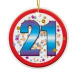 21st Birthday v2 Ceramic Ornament