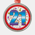 21st Birthday v2 Silver-Colored Round Decoration