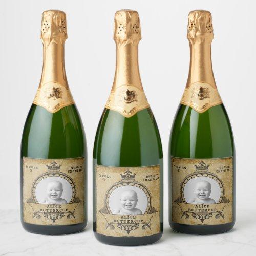 21st Birthday Vintage Retro Monogram Add Photo Champagne Label