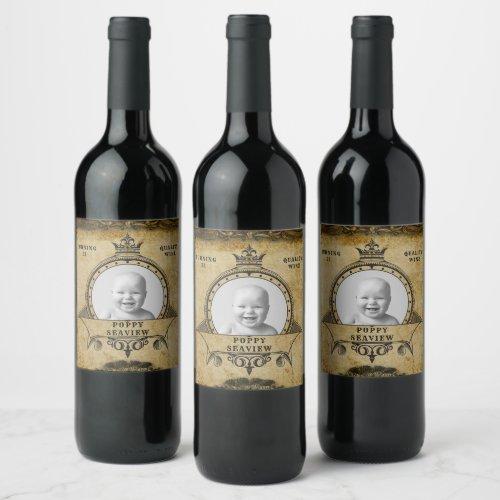21st Birthday Vintage Retro Monogram  Photo Wine Label