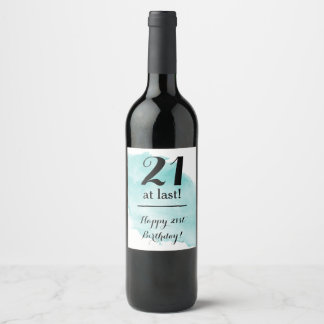 21st Birthday Watercolor Wine Label Gift